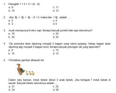 Latihan Soal Matematika Nalaria Realistik Paket 11 Untuk Kelas 1 2 Republika Online