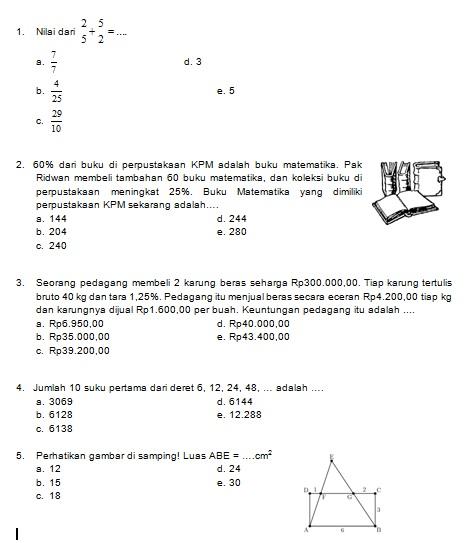 Latihan Soal Matematika Nalaria Realistik Paket 1 Untuk Kelas 9 Republika Online