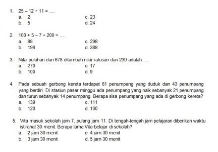 Latihan Soal Matematika Nalaria Realistik Paket 2 Untuk Kelas 1 2 Republika Online
