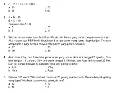 Latihan Soal Matematika Nalaria Realistik Paket 2 Untuk Kelas 3 4 Republika Online