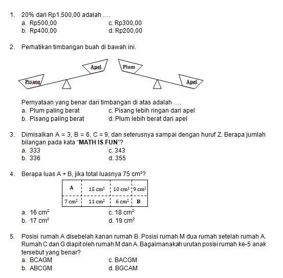 Latihan Soal Matematika Nalaria Realistik Paket 2 Untuk Kelas 5 6 Republika Online