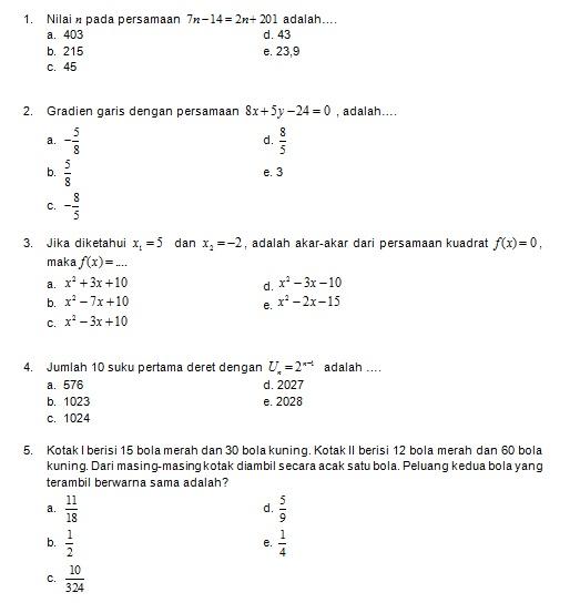 Latihan Soal Matematika Nalaria Realistik Paket 2 Untuk Kelas 9 Republika Online