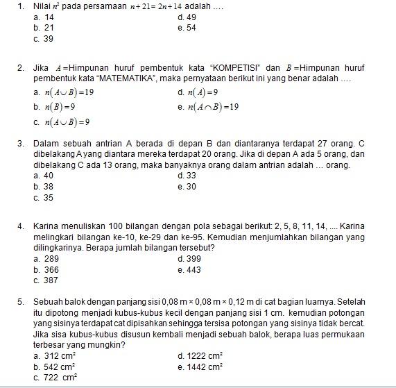 Latihan Soal Matematika Nalaria Realistik Paket 3 Untuk Kelas 7 8 Republika Online