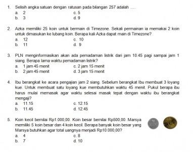 Latihan Soal Matematika Nalaria Realistik Paket 4 Untuk Kelas 1 2 Republika Online