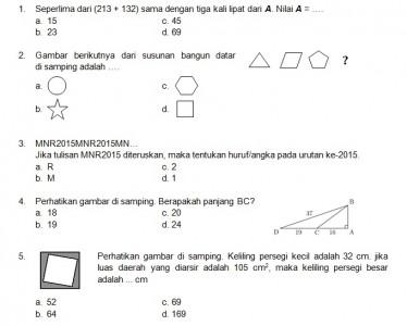 Latihan Soal Matematika Nalaria Realistik Paket 4 Untuk Kelas 5 6 Republika Online