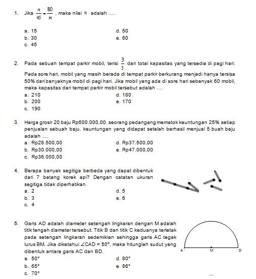 Latihan Soal Matematika Nalaria Realistik Paket 4 Untuk Kelas 7 8 Republika Online