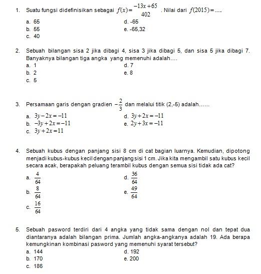 Latihan Soal Matematika Nalaria Realistik Paket 5 Untuk Kelas 9 Republika Online