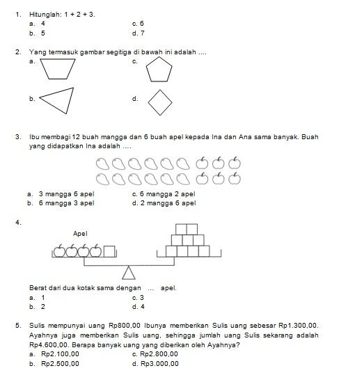 Latihan Soal Matematika Nalaria Realistik Paket 6 Untuk Kelas 1 2 Republika Online