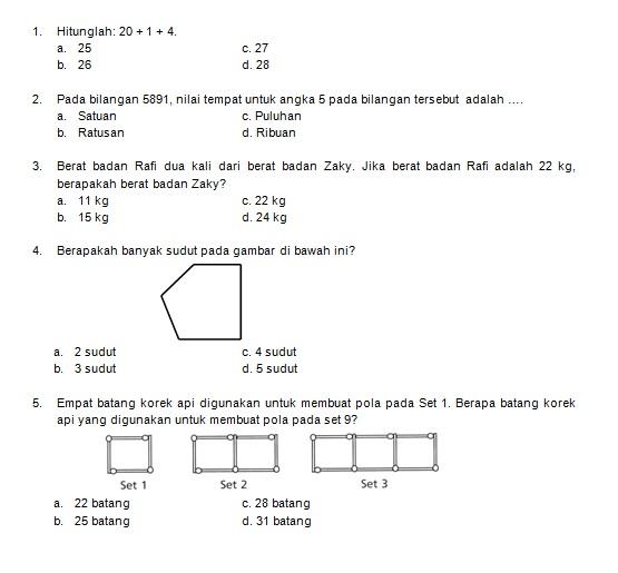 Latihan Soal Matematika Nalaria Realistik Paket 6 Untuk Kelas 3 4 Republika Online