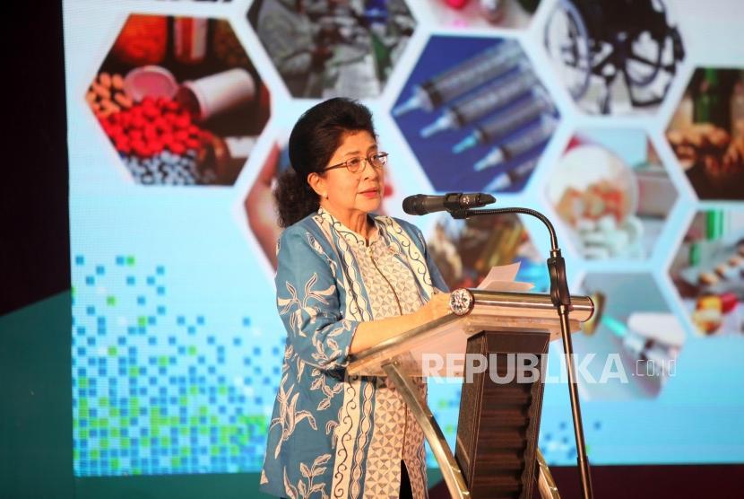 Menteri Kesehatan Nila F Moeloek memberikan sambutan saat acara Pameran Pembangunan Kesehatan dan Teknologi Alat Kesehatan Dalam Negeri 2017 di JIEXPO Kemayoran, Jakarta, Kamis (9/10).