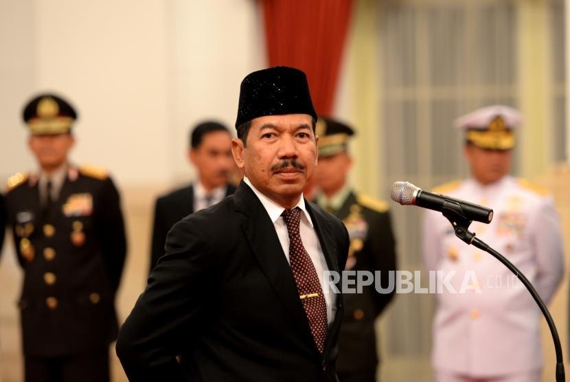 Kepala Badan Siber dan Sandi Negara Djoko Setiadi sebelum mengikuti pengambilan sumpah jabatan Kepala BSSN oleh Presiden Joko Widodo di Istana Negara, Jakarta, Rabu (3/1).