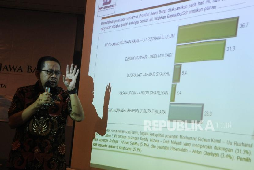 Direktur Eksekutif Indo Barometer, Muhammad Qodari menjelaskan hasil survei  tentang pilkada Jawa Barat yang di lakukan indobaremeter di  jakarta, Kamis (19/4).