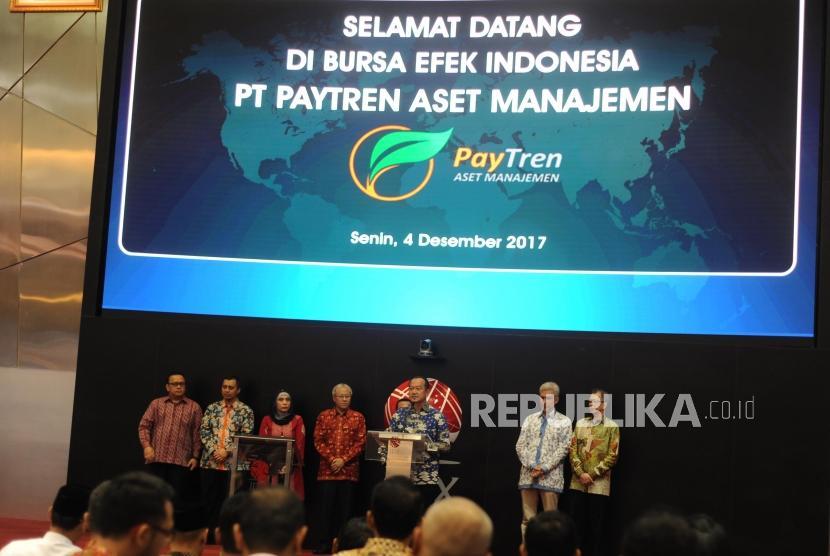 Sambutan. Direktur Utama Bursa Efek Indonesia  Nicky hogan memberikan sambutan dalam launching PT Paytren Aset Manajemen di Bursa Efek Indonesia, Jakarta, Senin (12/04).
