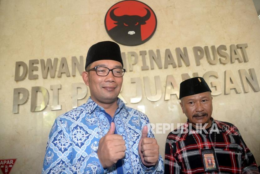Wali Kota Bandung Ridwan Kamil usai melakukan pertemuan di Kantor DPP PDIP, Jakarta, Rabu (3/1).