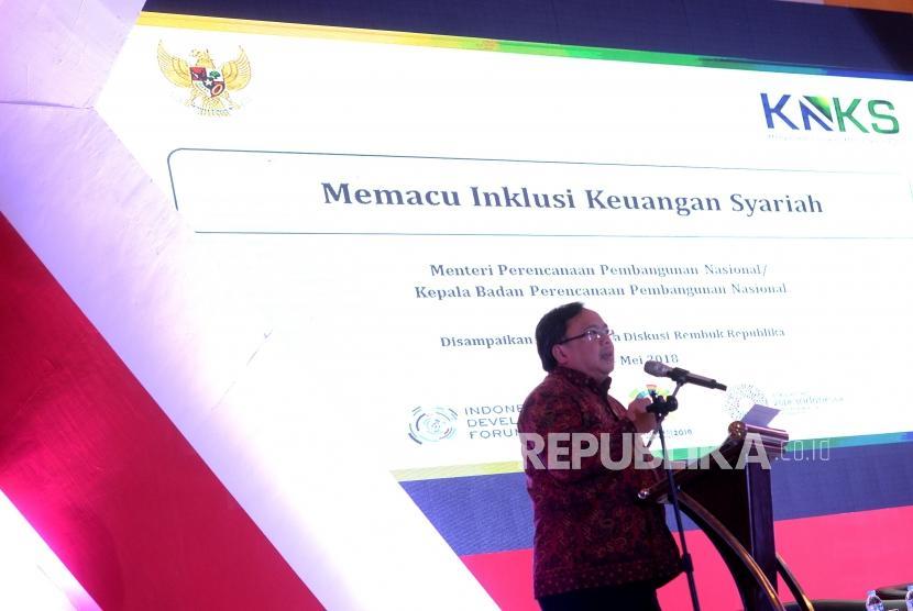 Memacu Inklusi Keuangan Syariah. kepala Bappenas Bambang Brodjonegoro memberikan paparan pada Rembuk Republik di Jakarta, Senin (14/5).