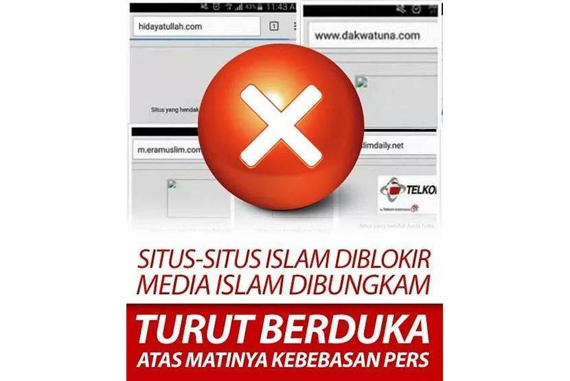 Protes netizen atas pemblokiran situs media Islam.