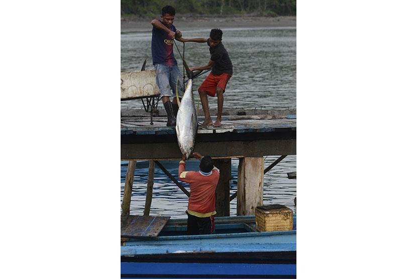Nelayan membongkar tangkapan ikan tuna di dermaga desa Daeo, Pulau Morotai, Ahad (15/11).   (Antara/Fanny Octavianus)