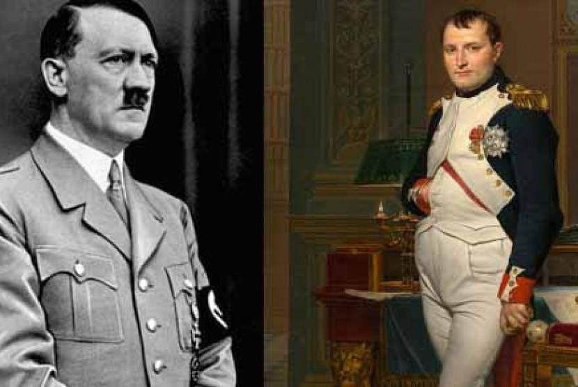 Adolf Hitler (kiri) dan Napoleon Bonaparte (kanan)