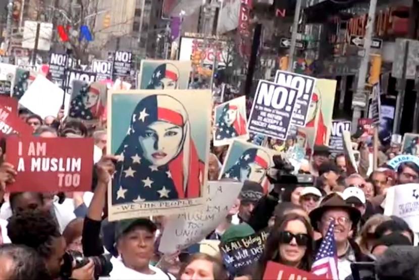 Aksi 'I am A Muslim Too' di New York