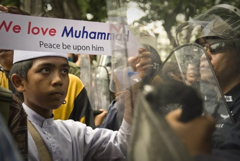 Aksi Muslim memprotes kebebasan beragama (Ilustrasi)