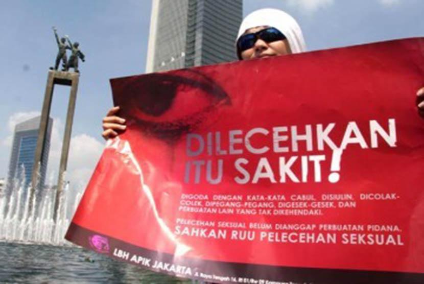 Aksi protes menentang pelecehan seksual terhadap kaum wanita. (ilustrasi)