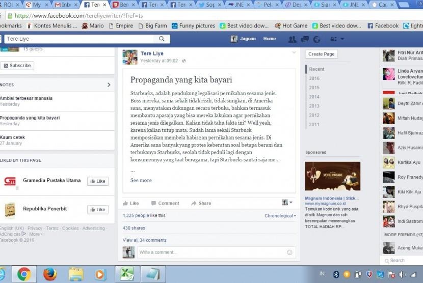 Akun Facebook Tere Liye