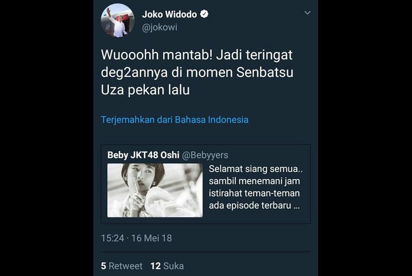 Unggahan @Jokowi yang merupakan kesalahan admin.