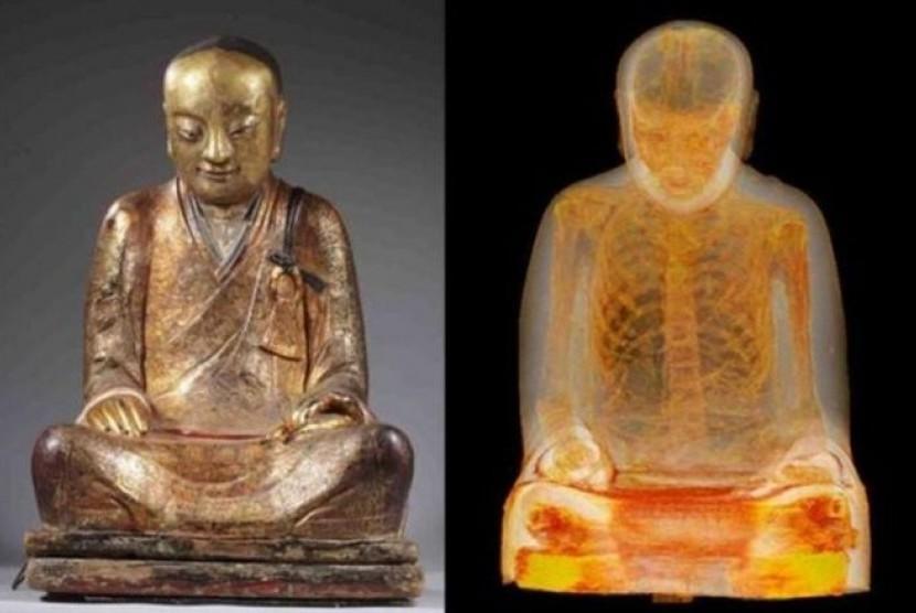 Analisa Xray menyebutkan adanya jasad biksu dalam patung Budha.