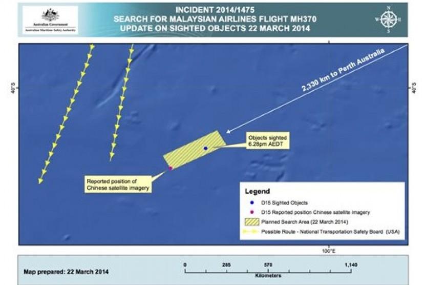 Australian Maritime Safety Authority (AMSA) menunjukkan perkiraan posisi objek mengapung yang diduga bagian dari pesawat Malaysia Airlines MH370 yang hilang di selatan Samudra India.