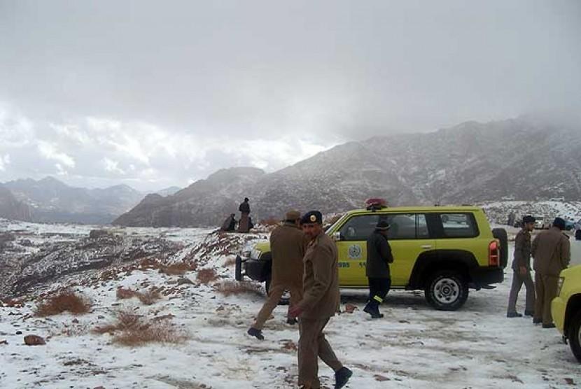 Badai salju di kota Tabuk, Arab Saudi