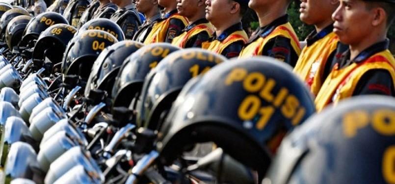 Barisan polisi dalam apel persiapan pengamanan (ilustrasi)