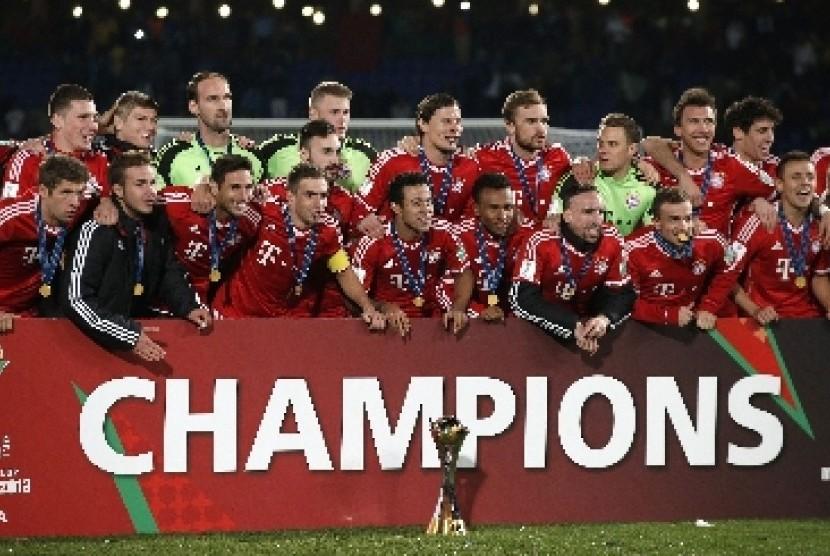 Bayern Muenchen saat merayakan gelar juara Piala Dunia Antarklub 2013 di Maroko.