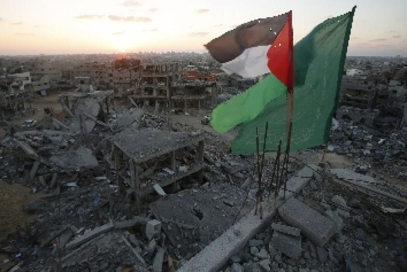 Bendera di Jalur Gaza.