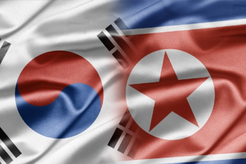 South Korea and North Korean flags.
