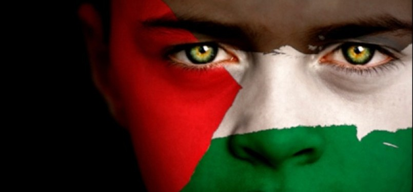 Bocah dengan lukisan bendera Palestina di wajahnya.