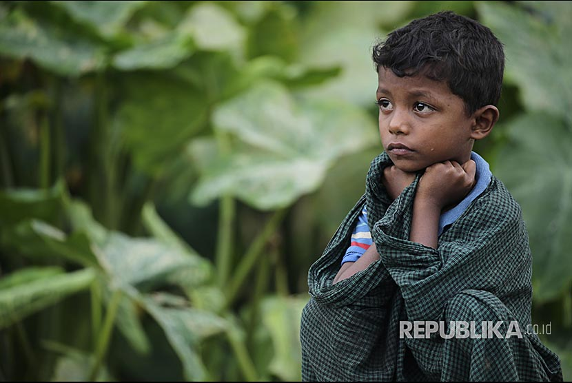 Bocah Rohingya di pengungsian Rohingya di Ukhiya, Cox Bazaar, Bangladesh