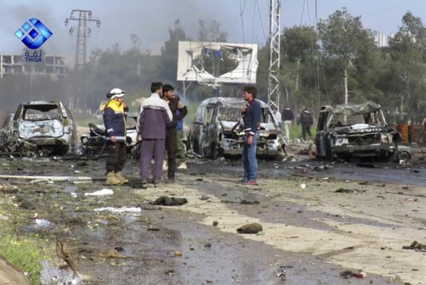Bom yang meledakkan pengungsi Suriah, Sabtu (15/4).