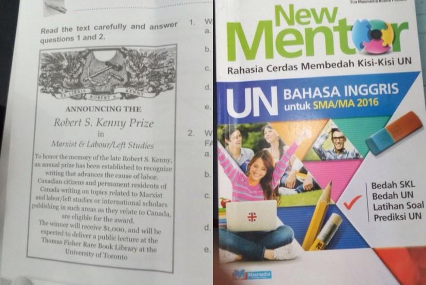 Buku kisi-kisi UN yang berisikan lambang palu arit di salah satu halamannya yang ditemukan di Ciamis.