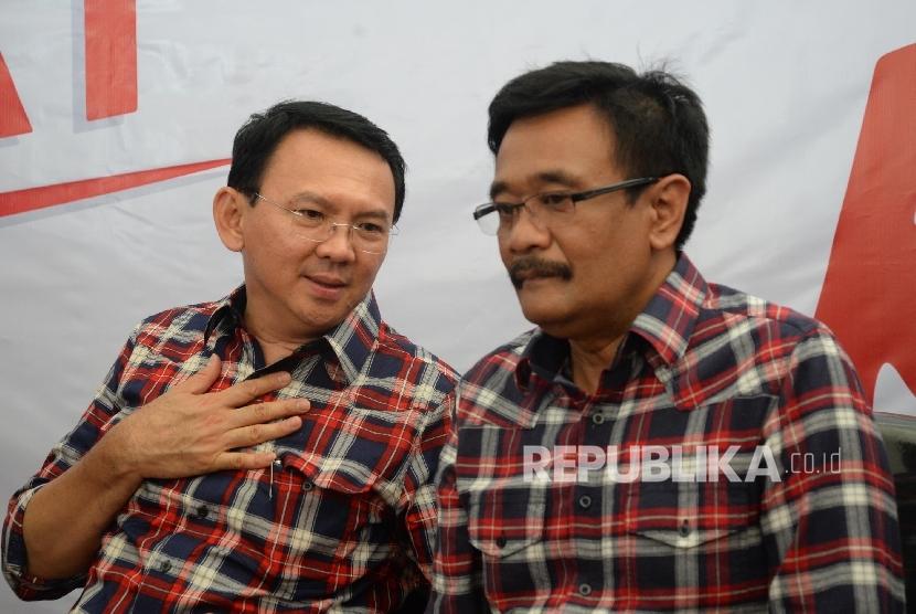 Calon Gubernur DKI Jakarta Basuki Tjahaja Purnama atau Ahok dan Wakil Gubernur DKI Djarot Saiful Hidayat