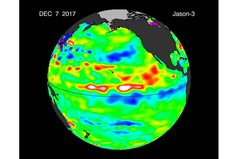 Citra anomaly permukaan laut Pasifik masih menunjukkan fenomana La Nina ditandai dengan dominannya warna biru.Berarti suhu lebih rendah (0,5 s.d 1 derajad) dari kondisi normalnya (NASA-NOAA-Jason-307122017).