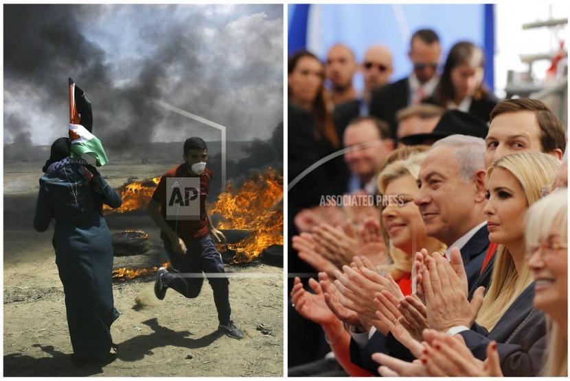 Dalam kombinasi foto ini, warga Palestina melancarkan aksi protes di dekat perbatasan Israel dan Jalur Gaza pada Senin, 14 Mei 2018 (foto kiri) dan pada hari yang sama para pejabat Israel: Sara Netanyahu, Perdana Menteri Israel Benjamin Netanyahu, Penasihat Senior Gedung Putih Jared Kushner, dan Putri Presiden AS Donald Trump, Ivanka Trump dari kiri ke kanan) bertepuk tangan pada upacara pembukaan kedutaan AS di Yerusalem.