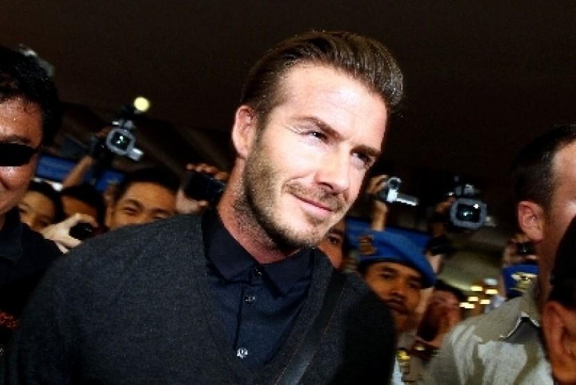 David Beckham ketika tiba di  Indonesia tahun lalu.