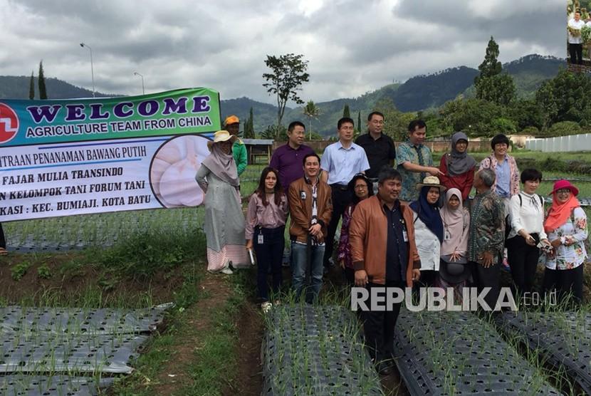 Delegasi Cina bersama Kementerian Pertanian melakukan kunjungan peninjauan lahan tanam bawang putih.