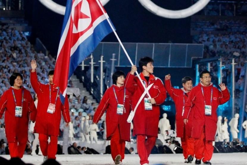 Delegasi Korea Utara saat Olimpiade Musim Dingin di Pyeongchang, Korea Selatan.