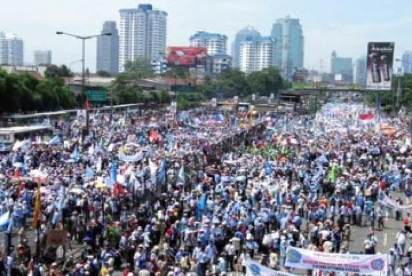 Demonstrasi Buruh (ilustrasi)
