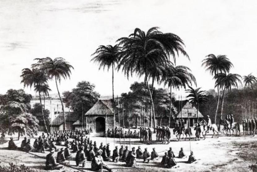 Diponegoro bersurban dan menunggang kuda di depan pasukannya yang beristirahat di pinggiran Kali Bogowonto, Jawa Tengah.