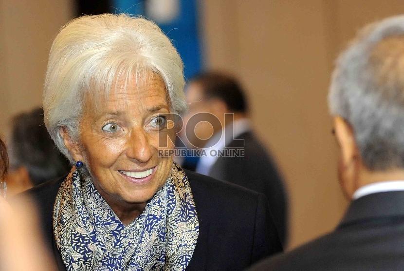 Direktur Pelaksana Dana Moneter Internasional (IMF) Christine Lagarde saat konferensi internasional bertajuk Future of Asia's Finance: Financing For Development 2015 di Jakarta, Rabu (2/9).
