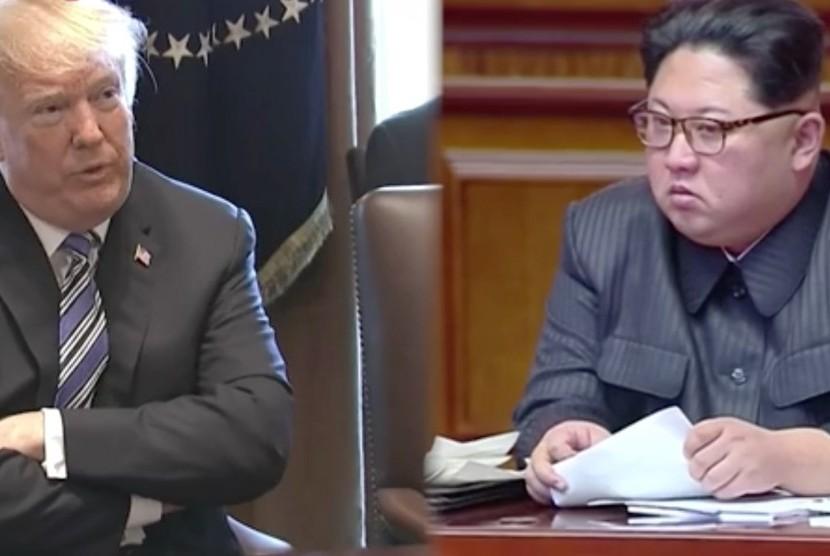 Donald Trump (kiri) dan Kim Jong Un (kanan)