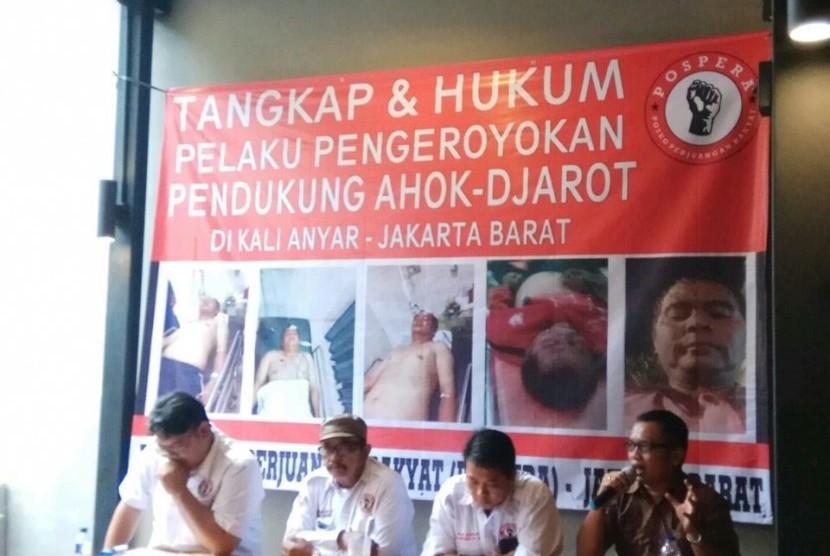 DPC Posko Perjuangan Rakyat (Pospera), menyikapi pengeroyokan Iwan di Kelurahan Kalianyar, Kecamatan Tambora, Jakarta Barat, Rabu (15/3).