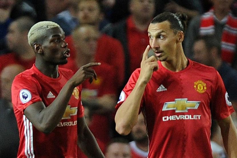 Dua bintang Manchester United, Paul Pogba (kiri) dan Zlatan Ibrahimovic.